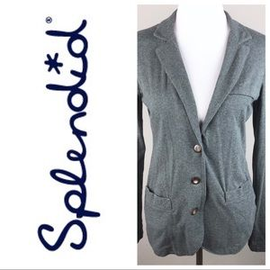 Splendid Pima Cotton Gray Jersey Blazer Jacket M